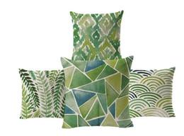 Green Leaf Pastoral Cushion For Sofas Geometric Polyester Cotton Linen Pillowcase Cojines Capa Para Almofada Home Deco