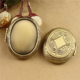 Wholesale Korea Diy Box - 40*30MM Vintage Copper Metal Oval wish Box photo locket charms, picture frame necklace Pendant South Korea DIY handmade jewelry materials
