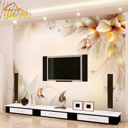 Wholesale Environmental Murals - Wholesale-Custom Photo Wall Paper 3D Stereo Minimalist Modern Living Room TV Backdrop Mural Environmental Protection Non-woven Wallpaper