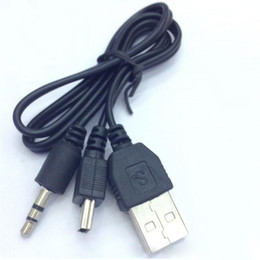 Wholesale 500pcs USB Cable To Mini USB Male And Male mm Plug Audio Video Speaker Cable CM Black Portable Speaker Audio Cable