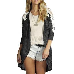 Wholesale Wholesale Wool Jackets - Wholesale- Kimisohand 2017 New Arrival Fashion Women Long Sleeve Lace Casual Knit Sleeve Sweater Coat Cardigan Jacket Outwear for Autumn