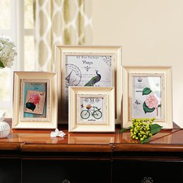Wholesale Framed Picture Collage - 4 6 7 10inch Plastic Collage Photo Frame Baby European Retro Style Picture Frames A4 Photo Frames for Picture Home Decor 1pcs lot