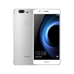 "Wholesale mobile phone screen glass lens - Original Huawei Honor V8 4G LTE Mobile Phone Kirin Octa Core 4GB RAM 32GB ROM Android 5.7"" 2.5D Glass Dual Lens 12MP Fingerprint Cell Phone"