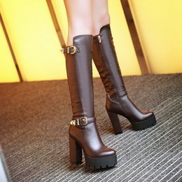 Wholesale Thick Sole High Heel Boots - Wholesale-Side Zipper Knee-high Riding Boots Women High Thick Heel Thick Soles Winter Boots