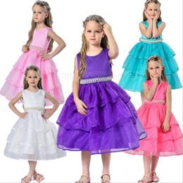 Wholesale Kids Christmas Pageant Costume - Kids Wedding Bridesmaid Dresses Girls Party Princess Dresses Formal Pageant Dress Beads Belts Flower Dress Prom Tutu Costumes Clothes B1476