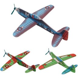Wholesale Diy Model Glider - Wholesale- 4Pcs Kids DIY Mini Foam Handmade Flying Airplanes Glider Educational Toys Model