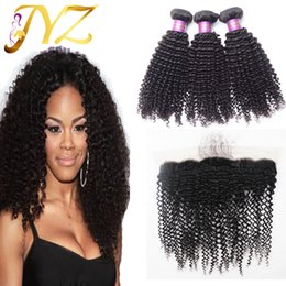 Wholesale Curly Hair Mixed Length - Brazilian virgin hair kinky curly with frontal 13x4 lace frontal closure with bundles brazilian human hair kinky curly hair extensions