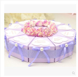 Wholesale Love Box Cake - PASAYIONE Cake Shaped Candy Boxes With Pearl Decor Love Shaped Tags Accessories Wedding Favor Boxes Casamento Wedding Gifts