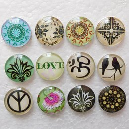 Wholesale Glass Chunks - 20pcs Mix Styles Love Birds 18mm Glass Snap Button Snaps Jewelry Buttons For Ginger Snap Bracelets Noosa Chunks