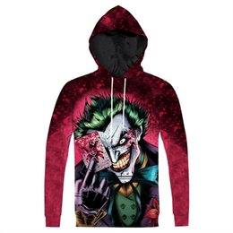 Wholesale Dropship Anime - Wholesale-Raisevern New The Joker Hoodie Fashion 3D Anime Character Joker Printed Hoody Sweatshirt Pullovers Tops Plus Size 3XL Dropship