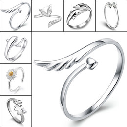 Wholesale Sterling Adjustable Ring - 925 Sterling Silver Jewerly Rings Dolphins Dragonfly Wings Of The Angel Love Fox Butterfly Opening Adjustable Ring For Women 080158