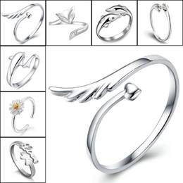 925 sterling silber jewerly online-925 Sterling Silber Jewerly Ringe Delphine Libelle Flügel Der Engel Liebe Fuchs Schmetterling Öffnung Einstellbarer Ring Für Frauen 080158