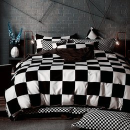 Wholesale White Full Bedroom Set - Wholesale- Black White Bedding sets King Queen Duvet Quilt cover set Linens Russia USA Size,Bedroom Bedding Home Textiles