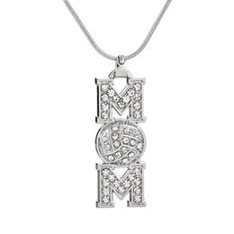 Wholesale Rhinestone Volleyball - Simple Design Volleyball MOM Metal Snake Chain Sports White Crystal Pendant Sports Necklace Maxi Jewelry Best Gift