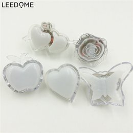 Wholesale Heart Shaped Plugs - Wholesale- Leedome Colorful Apple Butterfly Heart Shape Night Light 3D Wall Lamp EU US Plug For Holiday Party Art Decoration Energy Saving