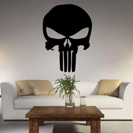 Wholesale Skull Wall Decals - New PUNK Skull Wall Stickers Vinyl Scared Skull Wall Sticker Cartoon Decals Home Decor Free Shipping