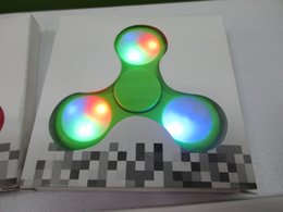 Wholesale Blue Spinning Light - 2017 New LED Light Hand Spinners Fidget Spinner Colorful Triangle Finger Spinning Top Decompression Fingers Toys DHL Free Shipping