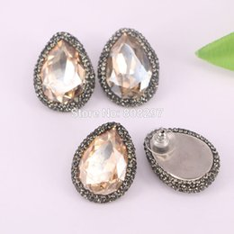Wholesale Champagne Pearl Earrings - 5Pair Pave Rhinestone Zircon Water Drop Shape Champagne Crystal Quartz Stud Earrings for Women