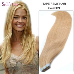 """Wholesale Real Tapes - Wholesale- 20 pieces lot 16""""-26""""inch 30g,40g,50g,60g,70g Remy Tape Hair Extensions #24 Medium Blonde Real Person's Natural Straight Hair"""