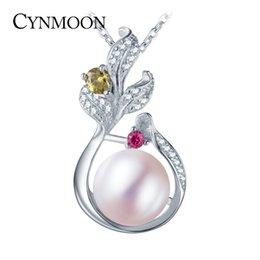 Wholesale Silver Fresh Water Pearls - Hot Sale 925 Sterling Silver Swarovski Style Pearl Pendant Necklace for Women Wedding Birthday Party Necklace Fresh Water Pearl Jewelry