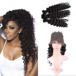 Wholesale Wholesale Virgin Burmese Hair - Burmese Virgin Hair Deep Wave with 360 Frontal Pre Plucked 360 Lace Frontal with 3 Bundles Human Hair Weft FDSHINE