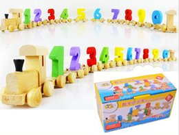 Wholesale Number Blocks Children - Wholesale- 0-9 Number Baby Children Wooden Digital Small Train 9 Numers Educational Toy Toddlers Vehicle Blocks Eduactional Wooden Toy