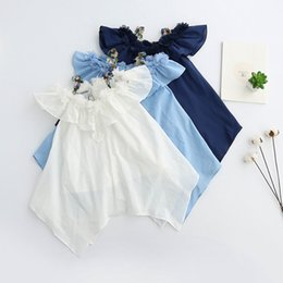 Wholesale Blue Suspender Skirt - Spring Autumn Fashion New Flower Girl Dress Girls Princess Dresses Kids suspender skirt Childrens Party Cute Beach Clothes baby Lovekiss A33