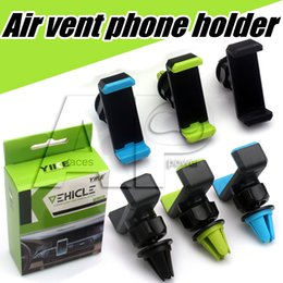Wholesale Phone Holders Safe Air Vent Mobile Car Mounts Stent GPS For Iphone Plus Iphone7 S Galaxy Samsung With Retail Package