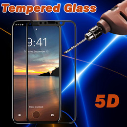 Wholesale Film Covering - 5D Curved Tempered Glass Screen Protector 5D Edge Full Cover Film Guard 9H Hardness Explosion Scratch Resistant For iPhone X 8 7 Plus 6 6S