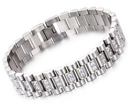 Argentina Reloj Band estilo 15 mm ancho pulsera de eslabones de pulsera de lujo de acero inoxidable 316L para hombre con ajuste de punta CZ Stones Suministro