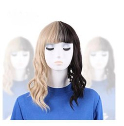 Wholesale Blonde Mix Half Wigs - 100% New High Quality Fashion Picture full lace wigs Fashion Melanie Martinez Wig Half Blonde And Black Wigs Culy Cosplay Wigs +Cap