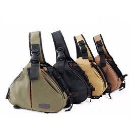 Wholesale Soft Camera Pouches - Digital Camera Bags Sling Shoulder Cross Camera Case Canvas Soft Men Women Bag for Canon Nikon Sony