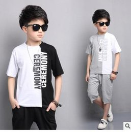 Wholesale Boys Pants Size 3t - Outfits for Boys Summer Cotton Clothing Sets Children Letter Tops & Pants Suits Big Size Kids Clothes Sets Boys T-shirts Shorts