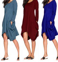 Wholesale Casual Asymmetrical Hem Dress - Hot Selling Dresses for Clothes Fashion 2016 Fall Long Sleeve Casual Tops Irregural Hem Pocket Dress M L XL XXL QT81017