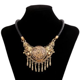 Wholesale Choker Findings - Wholesale- Find Me fashion boho power big gem tassel collar choker necklace pendants vintage ethnic statement Maxi necklace women Jewelry