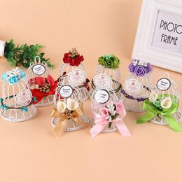 Wholesale Chocolate Birds - Creative Small Bird Cage Bells Wedding Candy Box Iron Chocolate Sweet Bridal Wedding Favor And Gift Box Party Deocr ZA3288