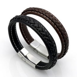 Wholesale Titanium Leather Braided Black Bracelet - Genuine Leather Punk Bracelet Men Stainless Steel Leather Braid Bracelet With Magnetic Buckle Clasp pulseiras masculina