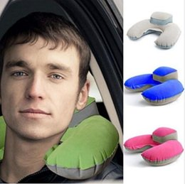 Wholesale Inflatable U Shaped Pillow - 4 Colors New Portable Folding Inflatable Neck Air Cushion U Shape Neck Travel Pillow Comfortable Business Trip Pillow CCA6794 50pcs