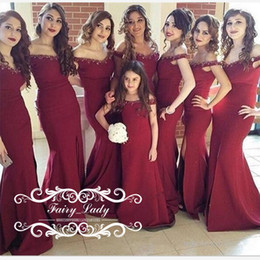 Wholesale Hot Black Woman Maid - Hot Sale Mermaid Bridesmaid Dresses For Women Beads Burgundy Satin Off Shoulder Long Maid Honor Party Bridal Gown Floor Length