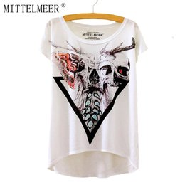 Wholesale Loose Skull Shirts - Wholesale-MITTELMEER New Polyester T-Shirt Women Short Sleeve t-shirts o-neck Causal loose Skull T Shirt Summer tops for women