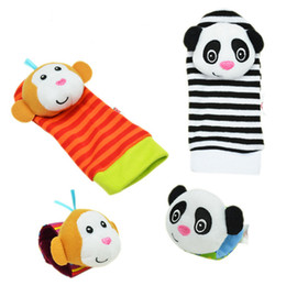 Wholesale Rattles Hands Foots - Wholesale- 2pcs pair 2016 New A Pair Baby Infant Toy Soft Handbells Hand Wrist Strap Rattles Animal Socks Foot Finders Developmental Toys