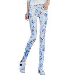 Wholesale Skinny Patterned Ties - Wholesale- 2017 New Fashion Women's Mid Waist Floral Print Pencil Jeans Female Slim Elastic Pants Skinny Jeans Students Trousers Pants