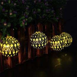 Metallo natale illuminato alberi online-Lampada a sospensione a 10 luci con fari marocchini a energia solare a 10 LED alimentata a energia solare