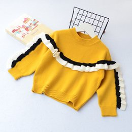 Wholesale Children Red Pullover Sweater - Everweekend Girls Knitted Ruffles Sweater Tops Vintage Korea Sweet Fashion Children Clothing Lovely Baby Blouse