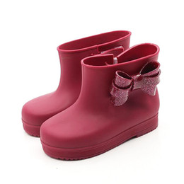 Wholesale Cute Boots For Baby Girls - Children's Rain Boots cute Boys and Girls slip Baby shoes With Bow overshoes Water shoes for Children Rubber Jelly Shoe MC2D