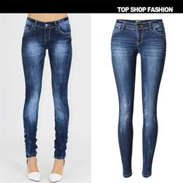 2020 jeans di lycra per le donne All'ingrosso-SKINNY JEANS Donna 2016 nuove signore di modo monopetto Slim pantaloni a matita Denim Jeans skinny taglia 34-44 jeans di lycra per le donne economici