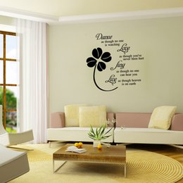 Wholesale Dance Wall Quotes - AW9125 Dance Love Live Quote Wall Sticker Leaves Flowers Wall Decals Home Decals For Fanily Quote Love