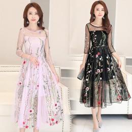 Wholesale Korean Lace Dress Xl - 2017 New Spring Sheer Mesh Dresses Korean Fashion Floral Printed Long Sleeve Organza Dress Slim O-Neck A-Line Dress