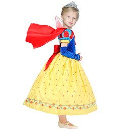 Wholesale Kids Winter Cape - Children Girls Snow White Princess Dresses With Cape Kids Party Ball Gown Long Cosplay Dancewear Christmas Halloween Clothing