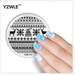 Wholesale Fashion Design Stencils - Wholesale- YZWLE 1 Sheet Fashion Round Christmas Design Nail Art Image Stamp Stamping Plates Manicure Template DIY Polish Stencil Nail Tool